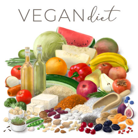 Nutrition concept for Vegan diet. Healthy products. Assortment of healthy food ingredients for cooking. Hand drawn illustration. Foto de archivo
