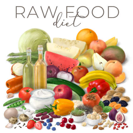 Nutrition concept for Raw food diet. Assortment of healthy food ingredients for cooking. Hand drawn illustration.