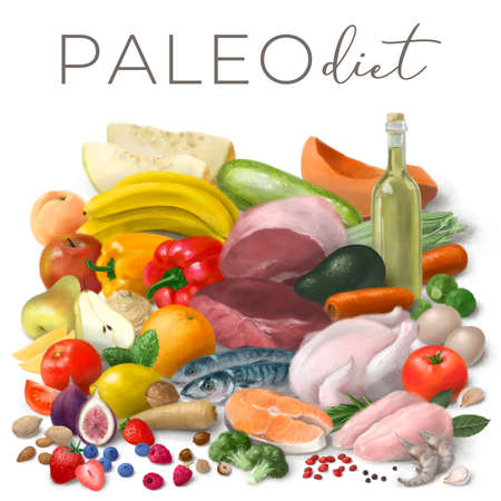 Nutrition concept for Paleo diet. Assortment of healthy food ingredients for cooking. Hand drawn illustration.