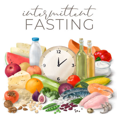 Nutrition concept for Intermittent fasting. Healthy food ingredients for cooking. Hand drawn illustration. Foto de archivo