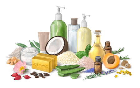 Homemade cosmetics ingredients. Composition with bottles of essential oils on table. Natural cosmetics. Foto de archivo
