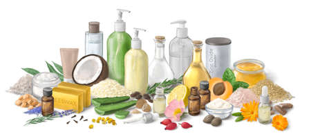 Homemade cosmetics ingredients. Composition with bottles of essential oils on table. Natural cosmetics. Aroma theme Foto de archivo