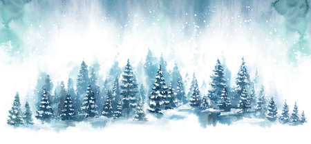 Winter horizontal landscape with snowy background. Watercolor vector Illustration on white background. Blue forest in snow