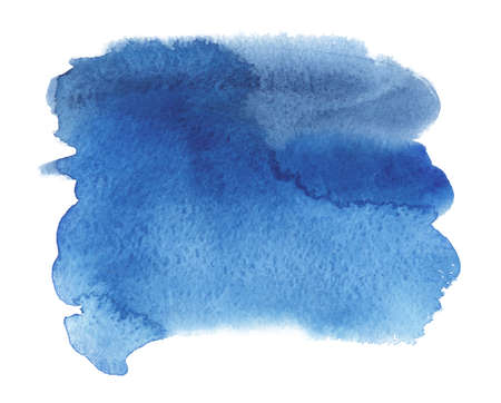 Abstract watercolor blue spot. Texture watercolor paint smear on a white background. Isolated horizontal vector illustration.