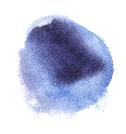 Abstract watercolor blue spot. Texture watercolor on a white background. Isolated round vector illustration. Vectores
