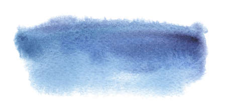 Abstract watercolor blue paint smear spot. Texture watercolor on a white background. Isolated horizontal vector illustration.