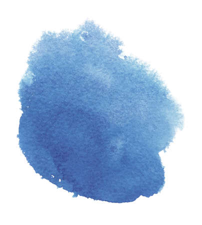 Abstract watercolor blue round spot. Texture watercolor on a white background. Isolated vector illustration.