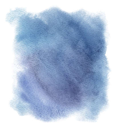 Abstract watercolor blue spot. Texture watercolor on a white background. Isolated horizontal vector illustration.