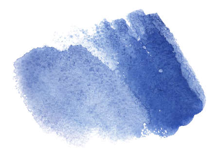 Abstract watercolor blue spot. Texture watercolor on a white background. Isolated horizontal smear spot vector illustration. Vectores