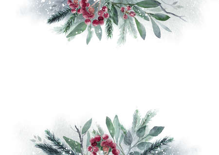 Watercolor Christmas Leaf banner. Hand painted floral garland with berries and fir branch, isolated on white background. Christmas card.