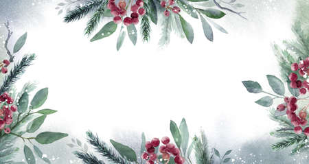 Watercolor Christmas Leaf banner frame. Hand painted floral garland with berries and fir branch, isolated on white background. Christmas card. Foto de archivo