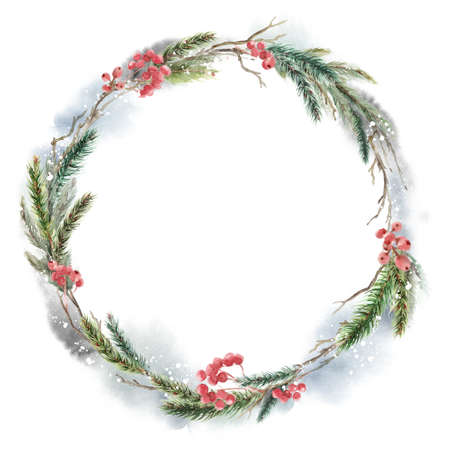 Watercolor Christmas wreath with fir, leaves and dry branches. Hand painted holiday frame with plants isolated on white background. Floral illustration