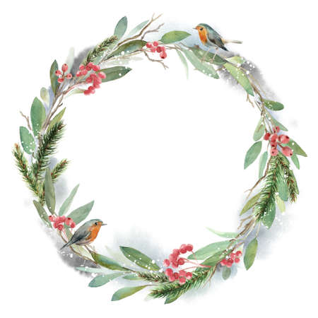 Watercolor Christmas wreath with fir, leaves and dry branches with the bird robin. Hand painted holiday frame with plants isolated on white background. Floral illustration