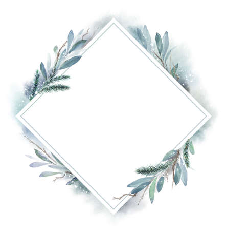 Watercolor Christmas frame rhombus with fir, leaves and dry branches. Hand painted holiday frame with plants isolated on white background. Floral illustration