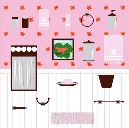 Set of bathroom items in pink. Towels, towel bar, hook, toilet paper holder, trash can, rug, toothbrush holder, soap dispenser, round towel holder, soap dish with soap, foggy mirror, and picture.