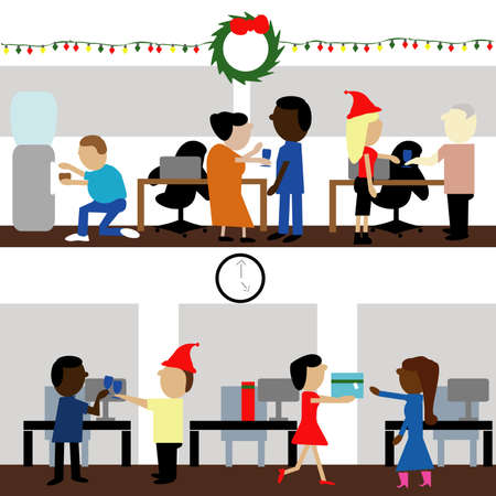 Vector illustration of two Christmas office parties with culturally different people.