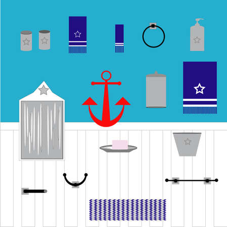 Set of nautical bathroom items. Towels, towel bar, hook, toilet paper holder, trash can, rug, toothbrush holder, soap dispenser, round towel holder, soap dish with soap, foggy mirror and anchor.