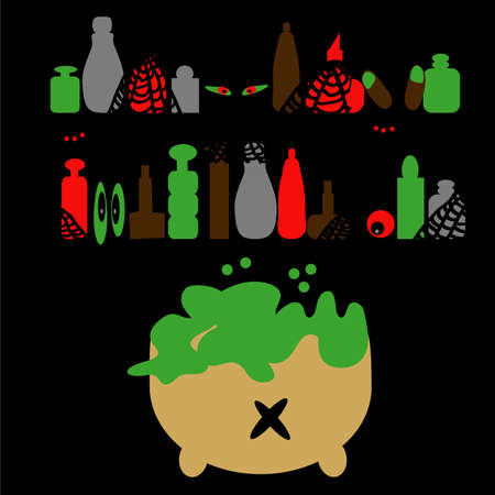 Vector illustration of Halloween potion bottles with a boiling caldron of slime, creepy eyes and spiderwebs on a black background. 向量圖像