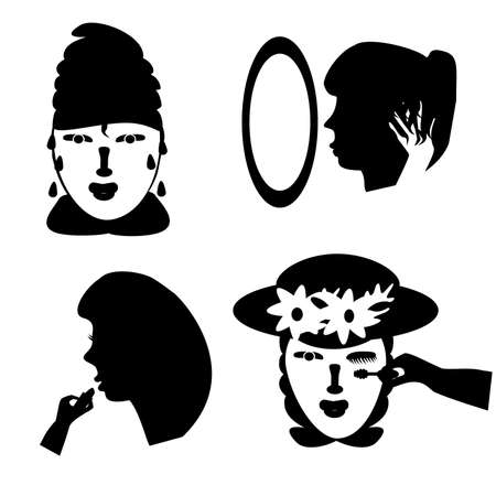 Vector illustration of women getting ready to go out. Woman with towel wrapped around head, fixing her hair, putting lipstick, and putting mascara.