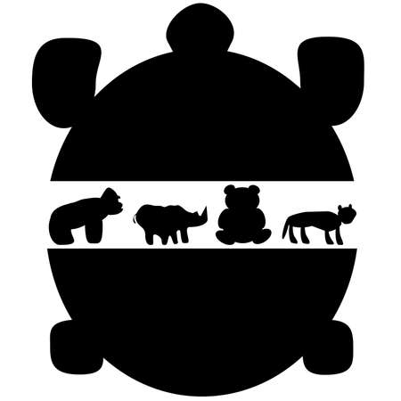 Vector illustration of endangered land species. A giant tortoise, a gorilla, a rhino, a panda, and a tiger silhouette.