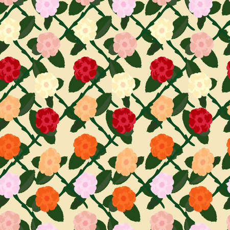 Seamless flower pattern vector. Various roses with stem in pink, red, orange and yellow on a vanilla background for fabric, scrapbook paper, wrapping paper, or backgrounds.