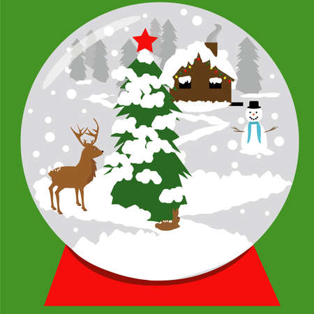 A Christmas snow globe with a log house, smoke in the chimney, a happy snowman, a deer, a bunny, a Christmas tree with a red star and snow on a red base and all on a green background. Vector concept.