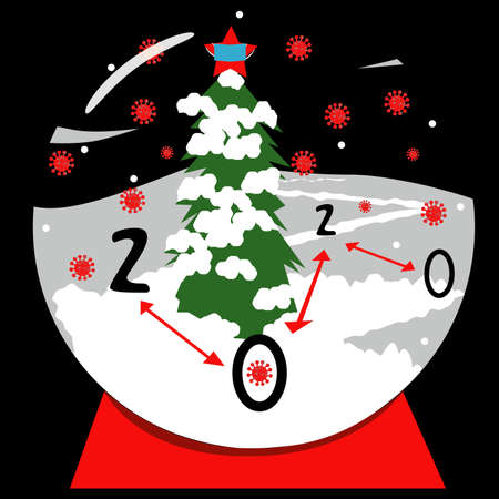 Vector illustration of the year 2020 in a snow globe. Globe scene includes distance arrows, Covid-19 virus in the air, a snow tree with a red star that has a mask and the numbers 2020 in a night sky. Stock Illustratie