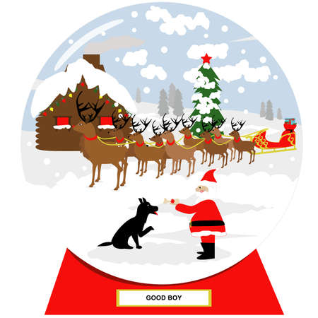 Vector illustration of a Christmas scene in a snow globe. Santa giving a bone to a dog. Snow globe for a good boy, dog.