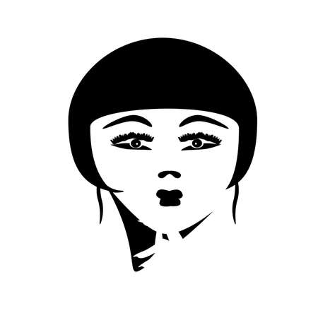 Vector illustration of a beautiful Asian girl. Salon logo. Face, hair and nails silhouette.  イラスト・ベクター素材