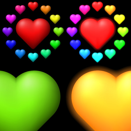 volume glow light: Set of coloured hearts.Multi-coloured hearts for your design.Colored hearts and glowing hearts in 12 colors.  Illustration is easily edited.   Isolated on black background.   This is vector illustration eps8. Illustration