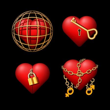key chain: Conceptual hearts on a theme
