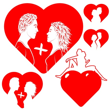 Stylized hearts, with a silhouette of a couple in love.  Illustration is easily edited.   Isolated on white background.   This is vector illustration eps8. Stock Vector - 8927317