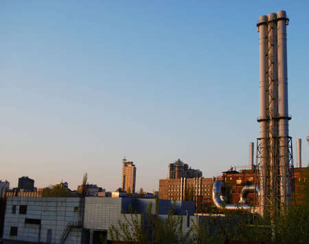 industrial city view with chimneys and skyscraper Stock Photo - 4759046