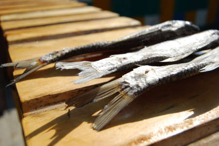 close-up tails of three dried fishes  photo