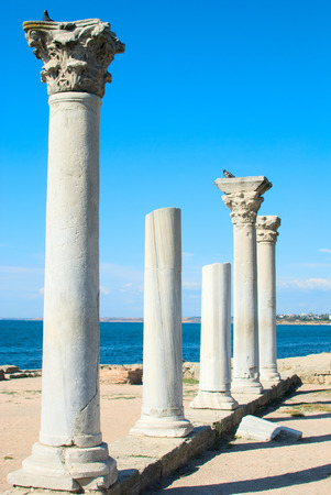 greek temple: Marble columns of old Greek temple. Chersonesus Stock Photo