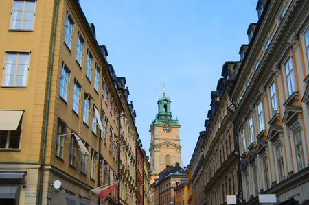 Stockholm Old town, Gamla Stan, view from Riddarhustorget on St. Nicholas Cathedral photo