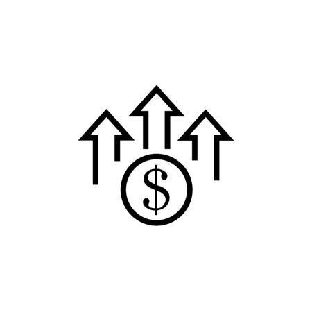 Dollar up Icon Flat Style Isolated Vector Illustration