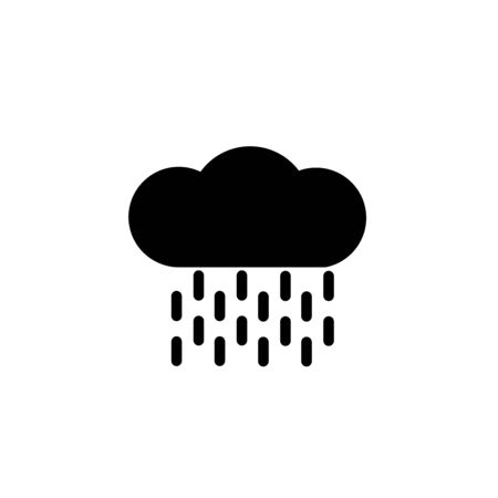 Simple glyph icon - weather or forecast sing with black silhouette cloud and rain, drops of water, single isolated icon on white background, vector signs for web, app