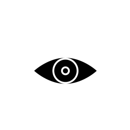 Simple black eye icon vector with double reflection in pupil. Round flare. Medicine symbol isolated. Safety and search concept. Laconic graphic design element. Eyesight pictogram. Isolated on white. Illusztráció