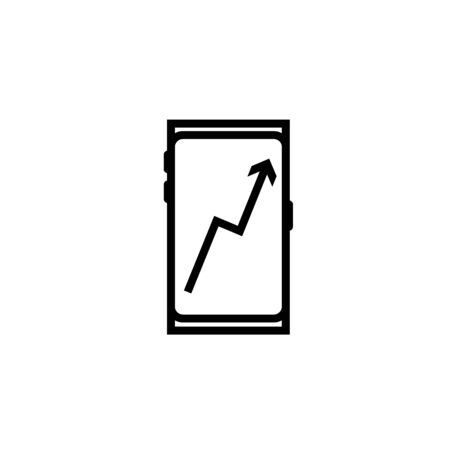 Smartphone with business chart illustration icon vector