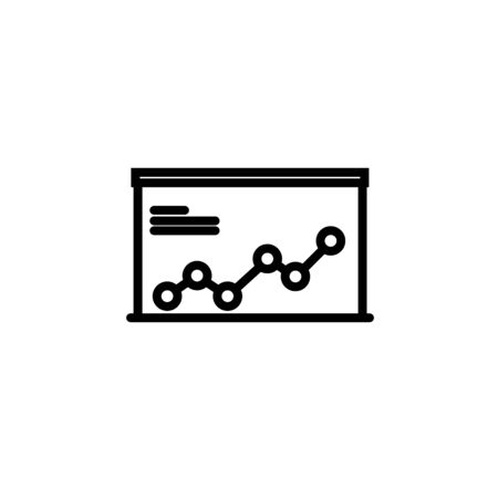 Analytics presentation board outline icon. linear style sign for mobile concept and web design. Whiteboard with growing chart simple line vector icon. Symbol, illustration. Pixel perfect vector