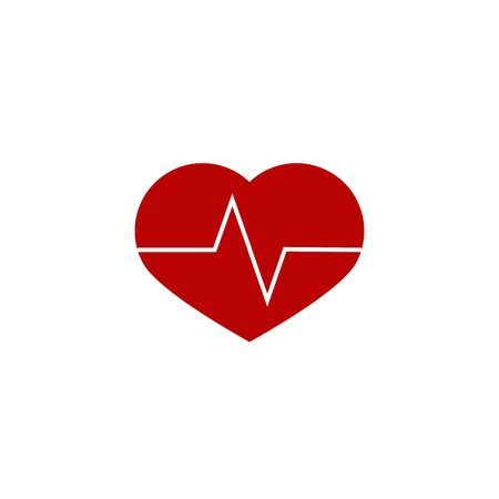 Heartbeat  heart beat pulse flat vector icon for medical apps and websites Illustration