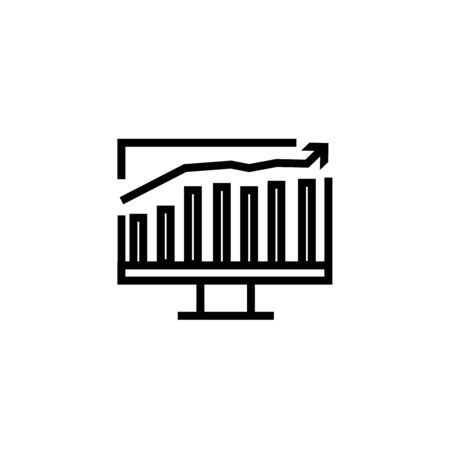 Computer monitors with different graphs, vector illustration