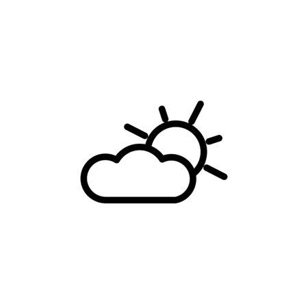 Thin line icon of weather, summer, sun, cloud. Editable vector stroke 64x64 Pixel. Stock Illustratie
