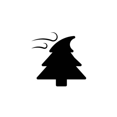 outline wind and bent fir vector icon. isolated black simple line element illustration from meteorology concept. editable vector stroke wind and bent fir icon on white background
