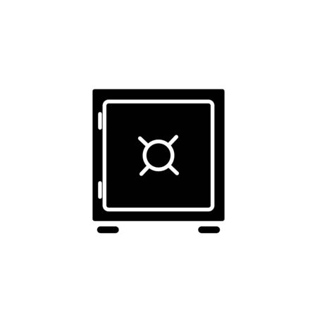 White Safe icon isolated on black background. The door safe a bank vault with a combination lock. Reliable Data Protection. Vector Illustration