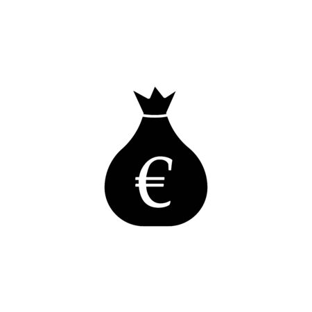 Money bag icon. Euro EUR currency symbol. Flat design style. Ilustracja
