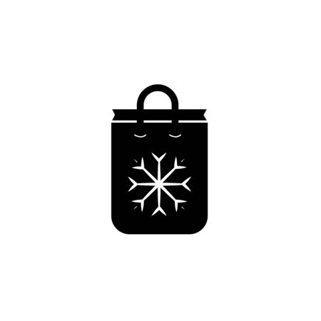 shop bag snowflake vector icon