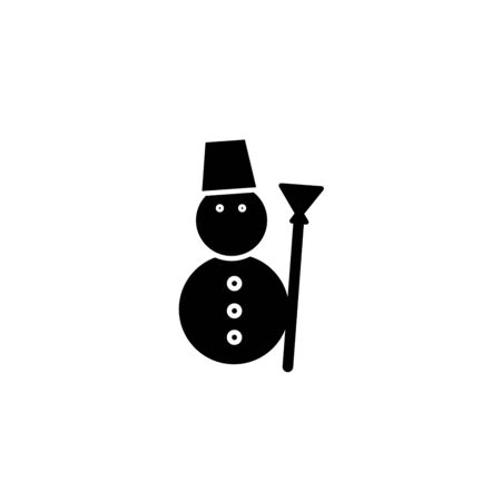 A black and white silhouette of a snowman in a top hat