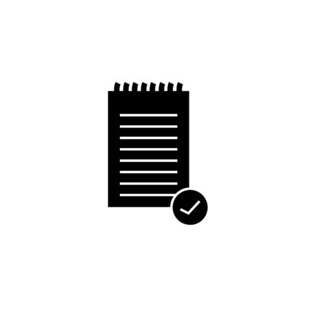 Clipboard with check mark glyph icon. Test, exam successfully completed. Verification and validation. Approved. Successfully tested. Silhouette symbol. Negative space. Vector isolated illustration Ilustração